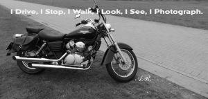 I drive , i stop, i walk, i look